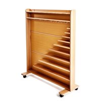 Bead Material Cabinet With Castors - Beech Wood