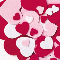 Foam Hearts - 264 Pieces -Assorted