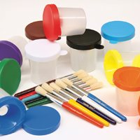 Paint Brushes & Cups Set