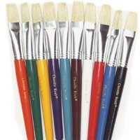 Wood Handle Flat Brushes - Set of 30