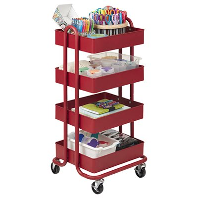 4-Tier Utility Rolling Cart - Red