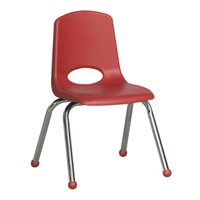 "D- 12"" Classroom Stack Chair - Chrome Leg & Ball Glide - Red"