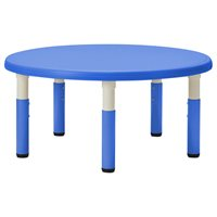 "40"" Round Resin Table with Adjustable Legs- Blue"