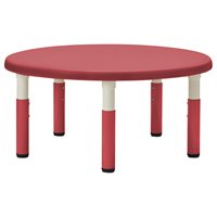 "40"" Round Resin Table with Adjustable Legs- Red"