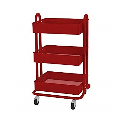 3-Tier Utility Rolling Cart, Red