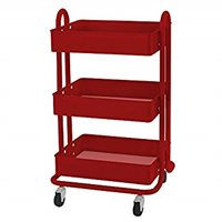 D- 3-Tier Utility Rolling Cart, Red