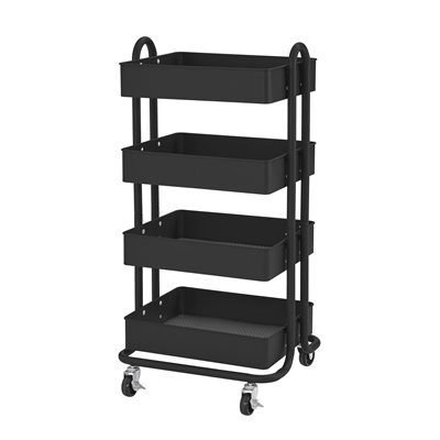 4-Tier Utility Rolling Cart - Black
