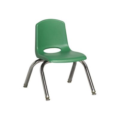 "16"" Classic School Stack Chair - Chrome Leg & Swivel Glide - Green"