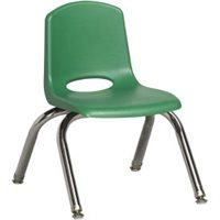 "D- 16"" Classic School Stack Chair - Chrome Leg & Swivel Glide - Green"
