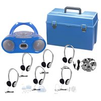 6 Person Listening Centre with Bluetooth® CD / Cassette / FM Boom box