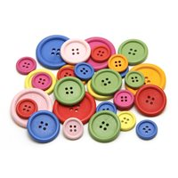 Bright Wooden Buttons - Pack of 50 - Assorted