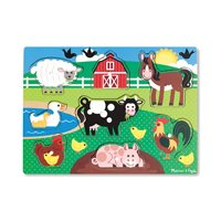 Farm Animals Wooden Peg Puzzle