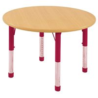"D- 48"" Round Table - Red Chunky Legs"