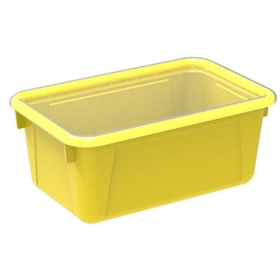 Small Cubby Bin with Clear Lid-Yellow