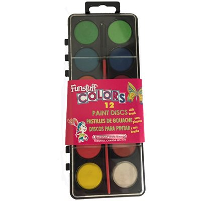 "1"" Tempera Cakes Assortment (12 Blocks / Tray / Brush)"