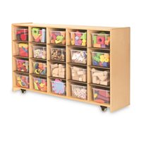 Mobile Storage Cabinet - With 20 Clear Bins
