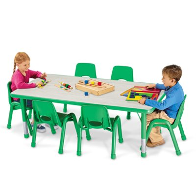 "30 X 78"" Rectangular Kids Colours Adjustable Table-Green"