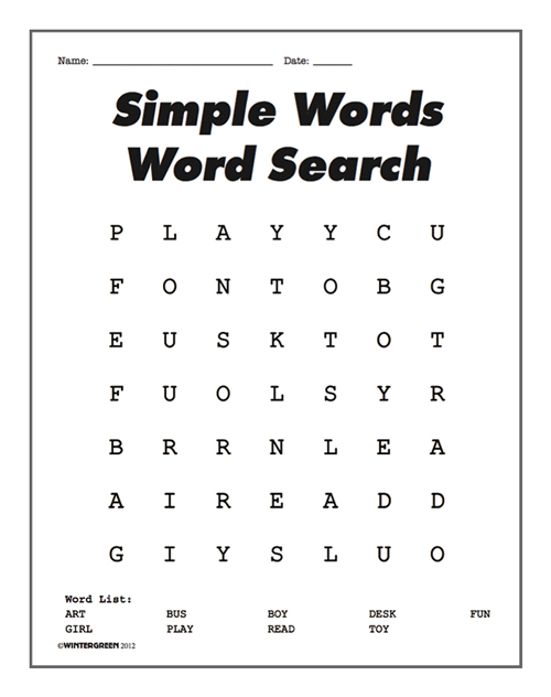 Simple Words Word Search