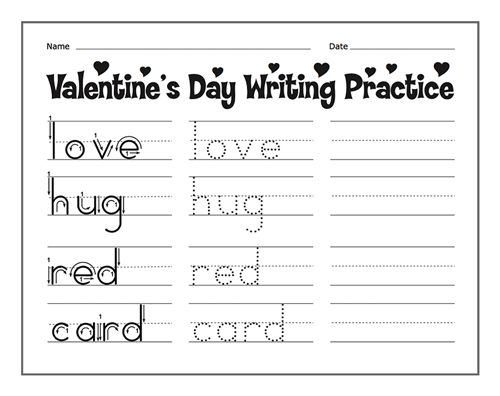 Valentines Day Writing Practice
